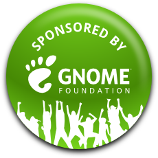 "Green badge with shadow and the text ""Sponsored by GNOME Foundation"""
